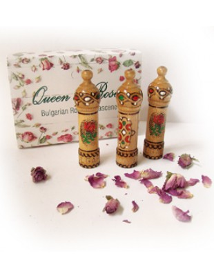 BULGARIAN ROSE PERFUME ESSENCE in WOOD CONTAINERS, 3pcs